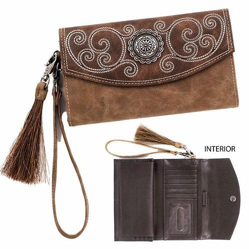 Blazin Roxx Western Womens Wallet Molly Clutch Tassel Concho Brown N7537402