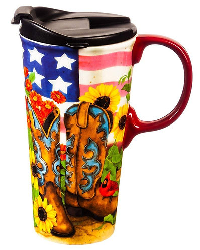 Cowboy Boots Ceramic Travel Mug