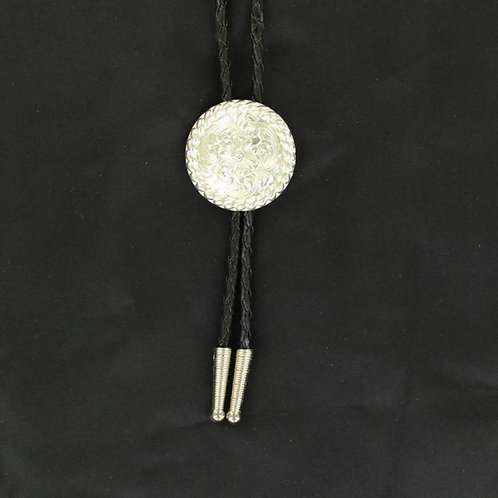Bolo Tie Round Sterling Silver with Rope Edge