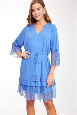 LLOVE Ladies Eyelet Lace Insert Short Dress