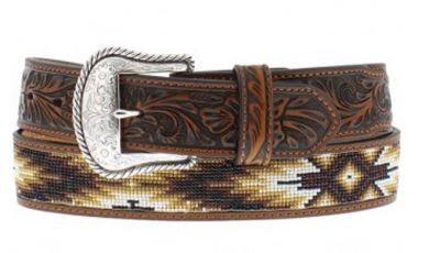 Nocona Aztec Beaded Brandy Tooled Leather Belt