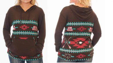 Cowgirl Tuff Chocolate chunky knit hooded sweat 100142