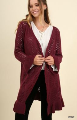 UMGEE Open Front Crochet Light Sweater with Bell Sleeves Wine G1038