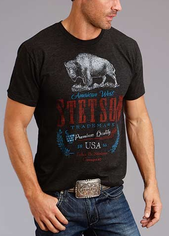 Mens Cowboy t-Shirt ~ AMERICAN WEST BISON