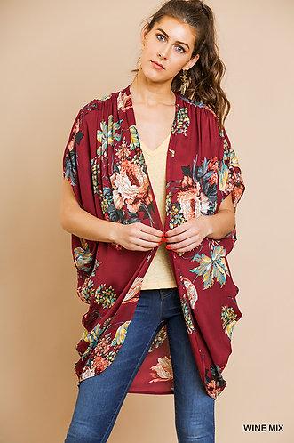 UMGEE Floral Print Open Front Sheer Kimono