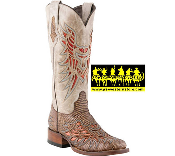 Lucchese Chestnut Lizard Inlay Boots