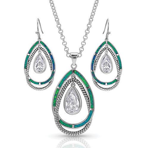 Montana Silversmiths NEW! Opal Ribbons Teardrop Jewelry Set