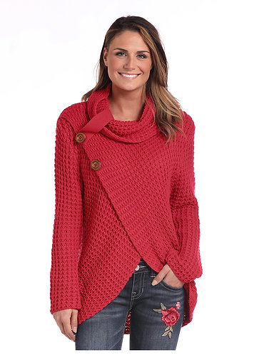 LADIES LS WAFFLE KNIT CROSSOVER COWL  NECK SWEATER