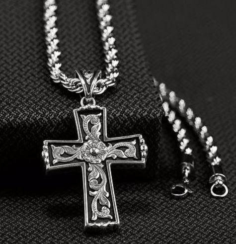 TWISTER MEN'S SCROLL CROSS NECKLACE