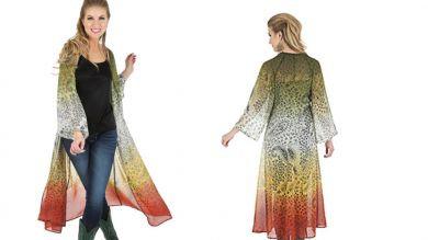 Wrangler� Ladies Premium Long Cardigan with Long Sleeves Printed - Rust/Hunter L