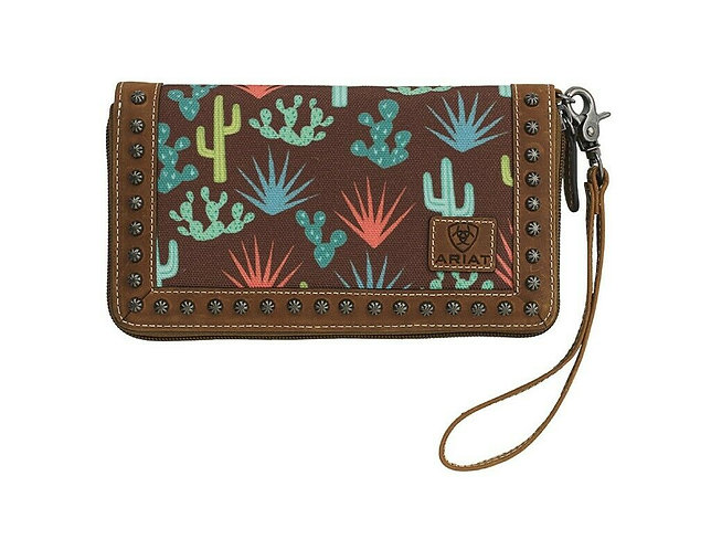Ariat Western Wallet Womens Cactus Zipper Wristlet Brown A770004902