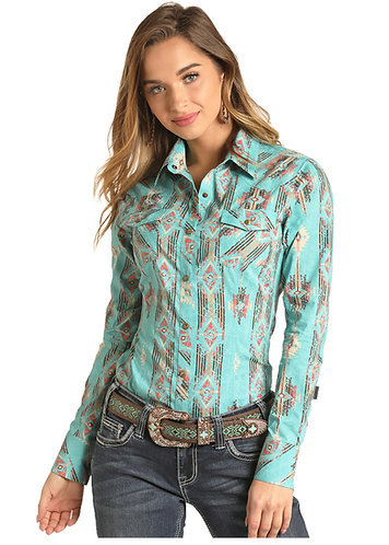 ROCK & ROLL COWGIRL AZTEC PRINT