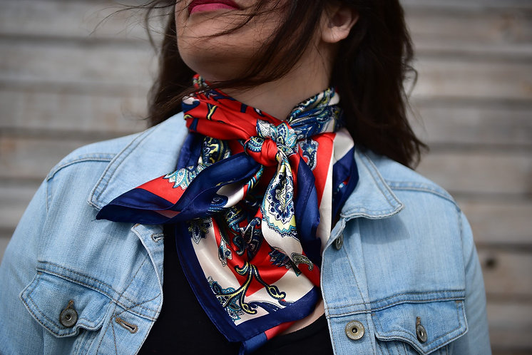 Red & Navy Paisley Wild Rag / Scarf #WR300