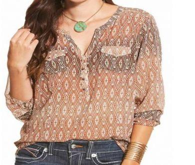 Ariat Ladies Tan Aztec Long Sleeve Top 10019430