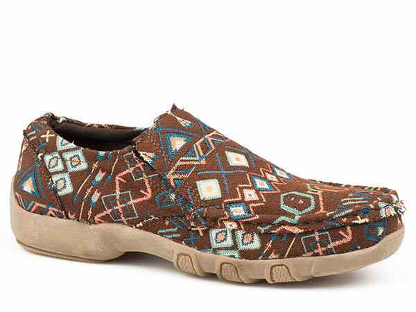 DRIVING MOC SLIP ON FABRICIC  BROWN AND BLUE MULTI