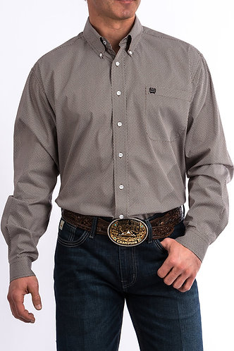 CINCH BROWN AND BLACK GEO PRINT WESTERN BUTTON-DOWN SHIRT