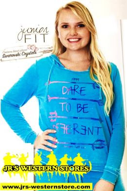 """Cowgirl Tuff Junior Turquoise \""""Different\"""" Hoodie #S00914"""