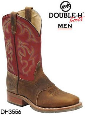 Double H Men's Sq Toe/Red Top Work Boots #DH3556
