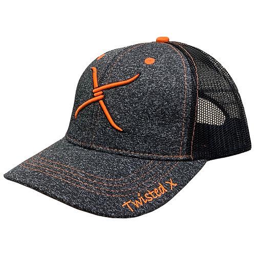 Twisted X Charcoal/Neon Orange/Black  Adjustable Ballcap