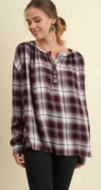 UMGEE Ladies Plaid Popover Button Up Top with Roll Up Sleeves G1168