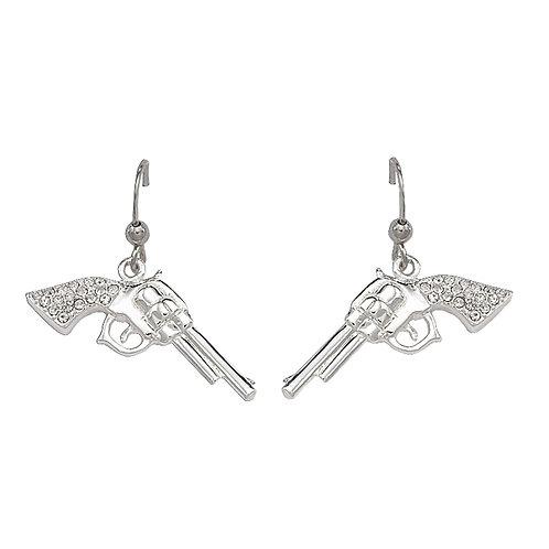 Montana Silversmiths Cowgirl Pistols Rhinestone Handle Drop Earrings