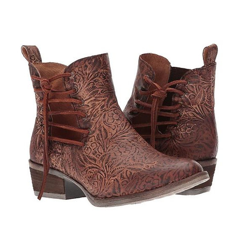 Circle G by Corral Ladies Brown Engraved/Laced Ankle Boot