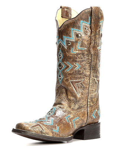 Corral Ladies Bronze/Turquoise Embroidered Boot
