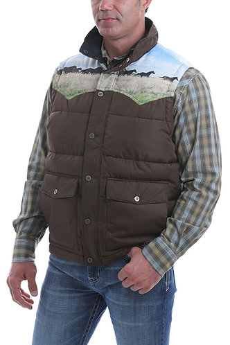 CINCH MENS RETRO QUILTED VEST OW20 - BRN