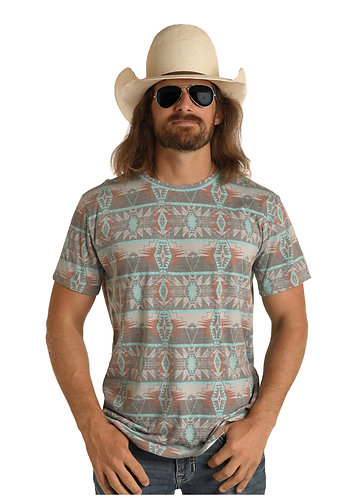 DALE BRISBY BY ROCK & ROLL DENIM T-SHIRT WITH ALL OVER AZTEC PRINT