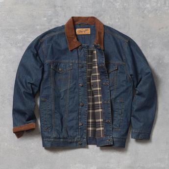 Wrangler Concealed Carry Blanket Lined Denim Jacket - Denim/Charcoal