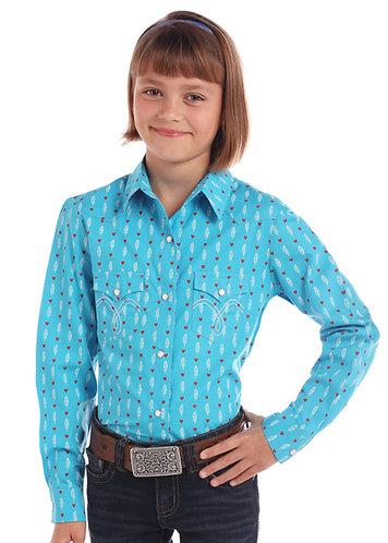 GIRLS LS SNAP PRINTED SHIRTS