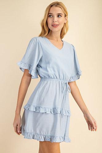 LLOVE Ruffled Detail Dress Blu