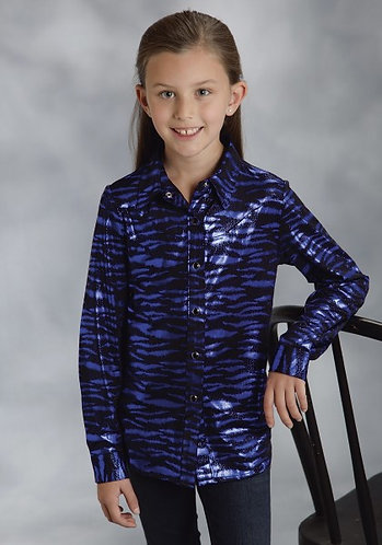 Roper Girls Blue/Black Metallic Zebra Print Western Shirt