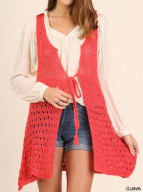 UMGEE Cozy Knit Vest with Waist Tie Detail GUAVA/COR C0025