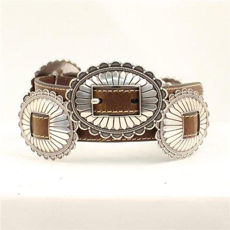 Nocona Oval Floral Silver Conchos Ladies Belt & Buck