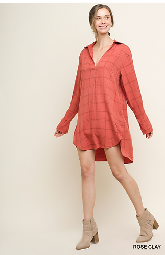 UMGEE Long Sleeve Plaid Print V-Neck Collared Dress