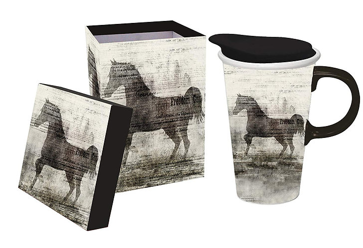 Freedom Horse Ceramic Travel Mug