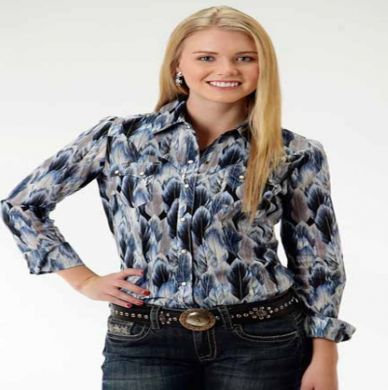 ROPER LADIES BLUE FEATHER LONG SLEEVE SNAP SHIRT 03-50-590-6016BU