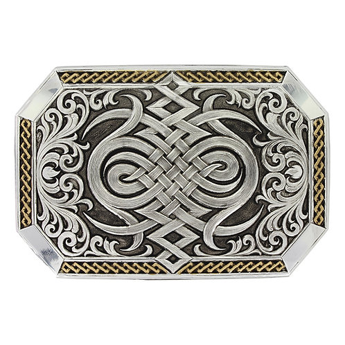 Antiqued Two Tone Western Celtic Knot Buckle