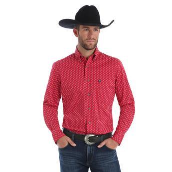 Wrangler® Performance Long Sleeve Shirt - Red/White