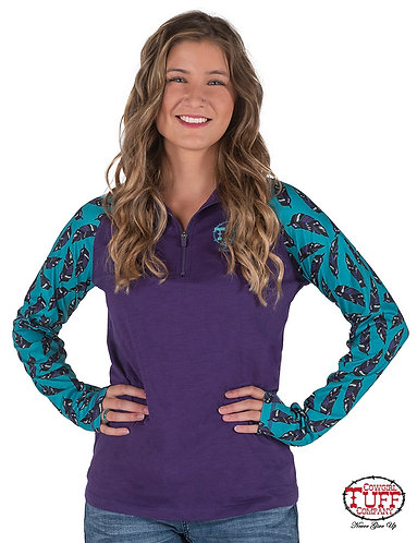 COWGIRL TUFF PURPLE CADET ZIP W/TURQUOISE&ALL-OVER FEATHER PRINT