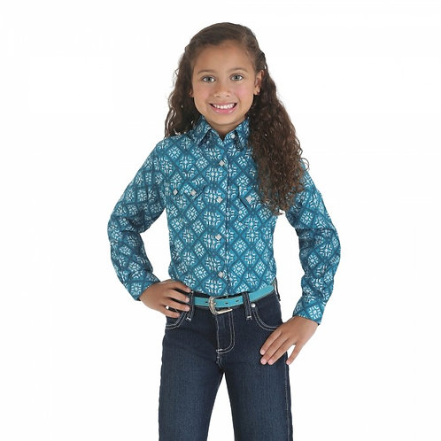 Wrangler Girl's Blue Diamond Western Shirt