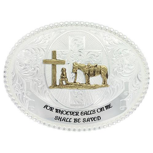 MS Faith and Wisdom Western Belt Buckle with Christian Cowboy
