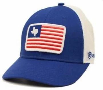 Ariat Mens Hat Baseball Cap Mesh Snap Back Texas Flag Patch Blue A300009127