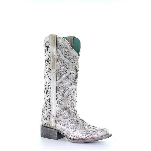 Corral Ladies White Full Inlay Square Toe Boots G1488