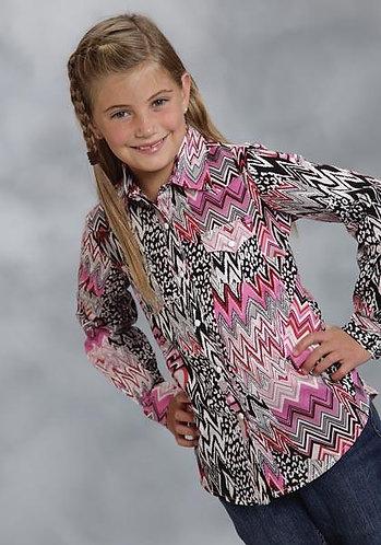 Roper Girls' Animal/Aztec Patterned Pink/Black Western Shirt