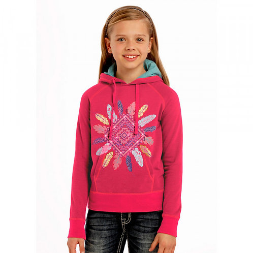 Rock & Roll Cowgirl Hot Pink Aztec Feather Hoodie
