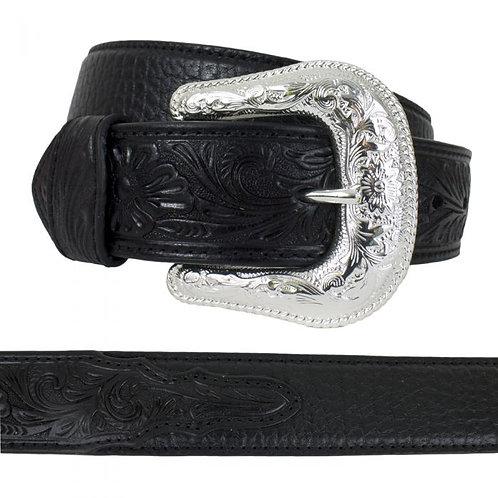Nocona Men's Black Leather Embossed Western Belt -