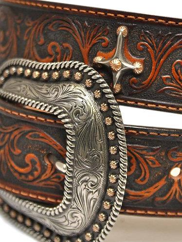 Tony Lama Womens Leather Brown Cross Conchos Cowgirl Faith Belt