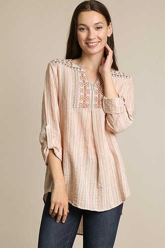 LLOVE Striped Embroidered Top  RLV2396